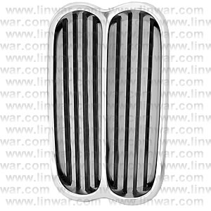 Front Grille, Centre Black/Silver: 1600-2002/ti/tii -09/73 (Metal Grilles)